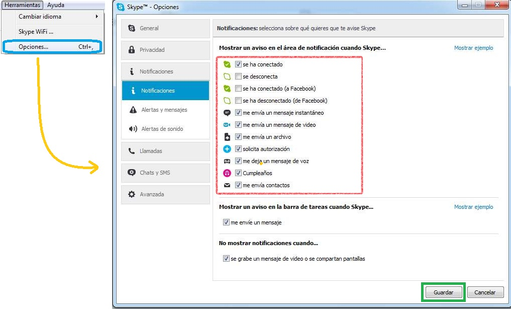 Notificaciones de Skype